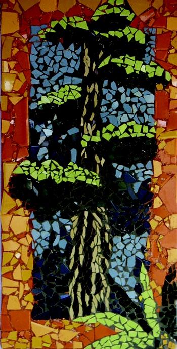 Auckland NZ Pt Chevalier School kids art! : Smash tile mosaic - Kauri house
