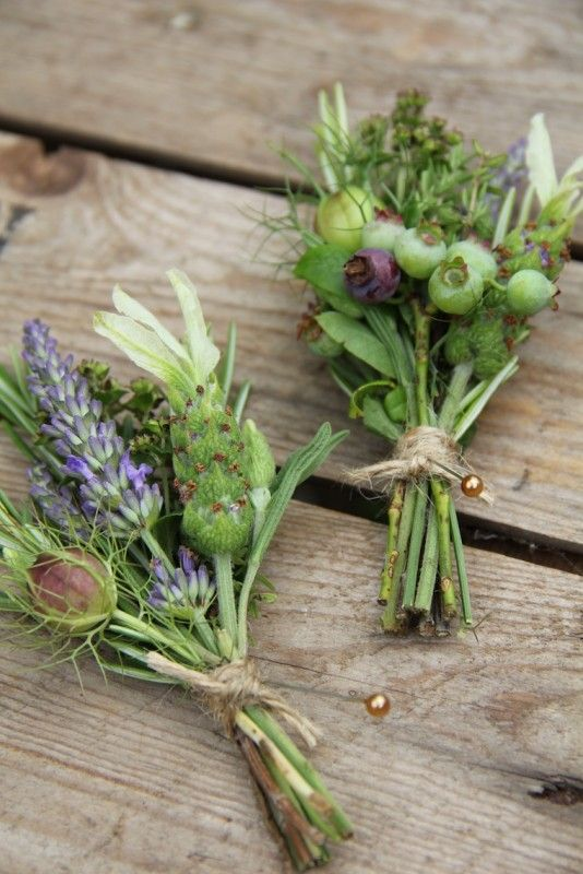 Rustic buttonholes. I could do a smaller version of this in pinks and blues which is cheaper than a rose buttonhole because it uses seasonal materials which are less expensive e.g. love-in-a-mist, lavender, etc.