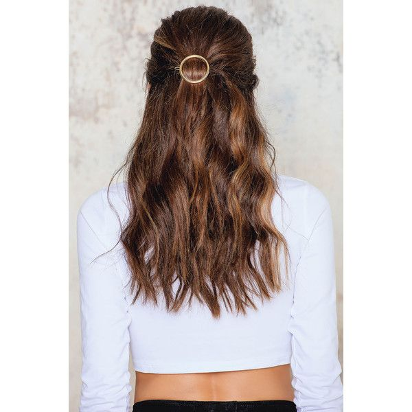 NA-KD Accessories Circle Hair Clip ($12) ❤ liked on Polyvore featuring accessories, hair accessories, hair, hair styles, people, gold, barrette hair clip, gold hair clips, snap hair clips and hair clip accessories