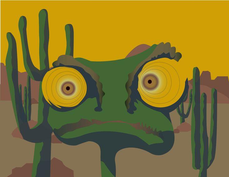 Perdu ailleurs, illustration inspirée du film Rango #Rango #desert #illustration #aride