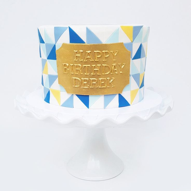 Geometric Blue Yellow Gold Cake | Eini & Co.
