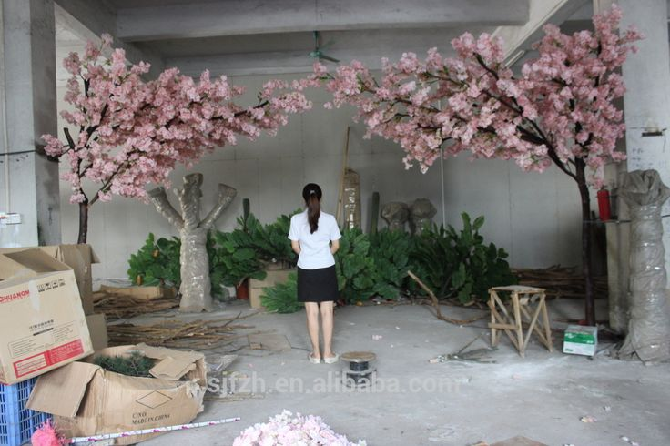 New design garden wedding arch use cherry blossom flower branches wooden arches for sale