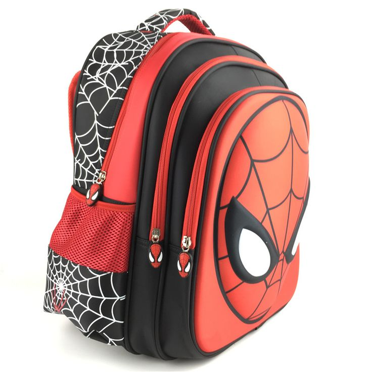 new fashion 2015 cartoon backpack with zipper fashion style boy cool spiderman bag child schoolbag for kid printing backpack