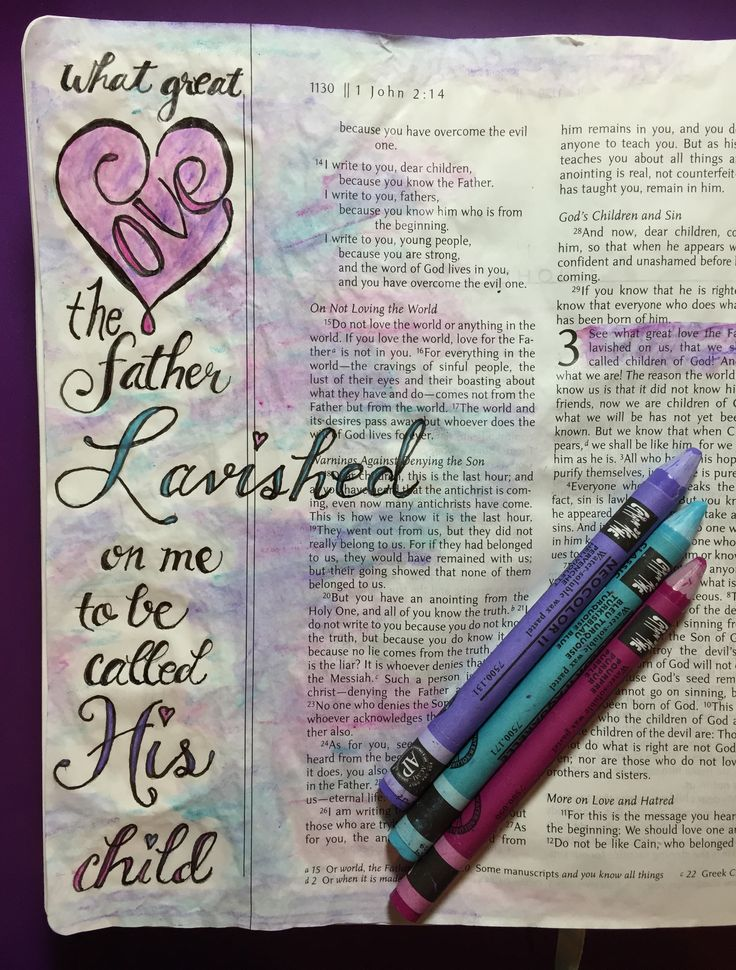 illustrated Faith, Bible art journaling. I John 3:1 I love the thought of being God's child and being lavished with love. God's love is incomprehensible. By Lynn Egigian