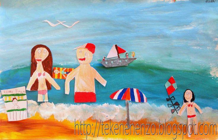 Tekenen en zo: Aan het strand - collage