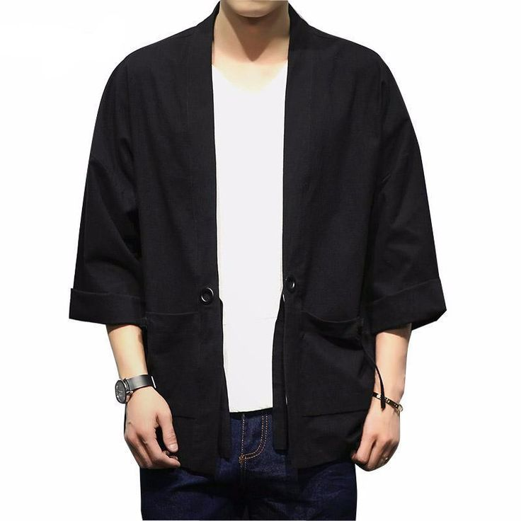 Men Cotton Cardigan Jacket Male Streetwear Fashion Hip hop Casual Coat Loose Kimono Jacket