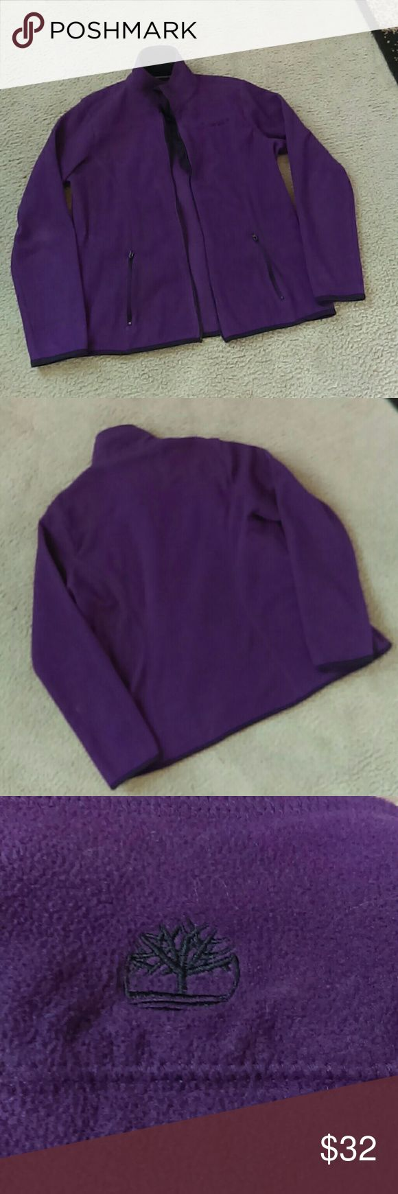 Timberland Jacket Gently used purple Timberland jacket. Jacket has no zipper. Two front zip pockets.  Fabric: 100 Polyester Timberland Jackets & Coats