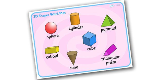 Twinkl Resources >> 3D Shape Word Mat >> Printable resources for Primary, EYFS, KS1 and SEN. Thousands of classroom displays and teaching aids! Numeracy, Maths, 3D, Shapes, Word Mats