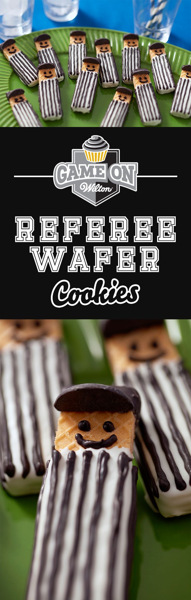 Easy Referee Wafer Cookies - These referee wafer cookies will be the best call of the game! Make them for any youth football team treat, tailgating party or just to impress your guests while watching the game at home. Sweet wafer cookies with Candy Melts candy are an easy-to-make treat that taste great, too!
