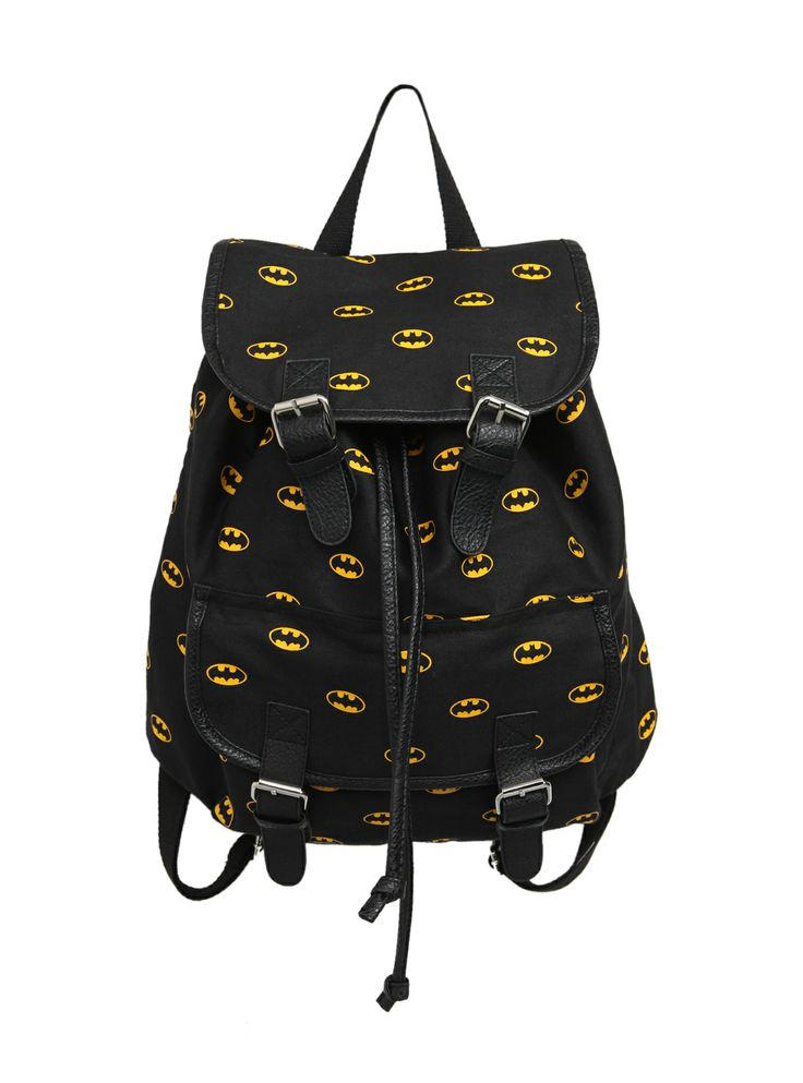 Slouch backpack with Batman logo print, one front pocket and buckle snap button closures.