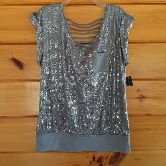 NWT Sparkly Top 1X (16W) Pretty sparkly top with straps at back Faded Glory Tops