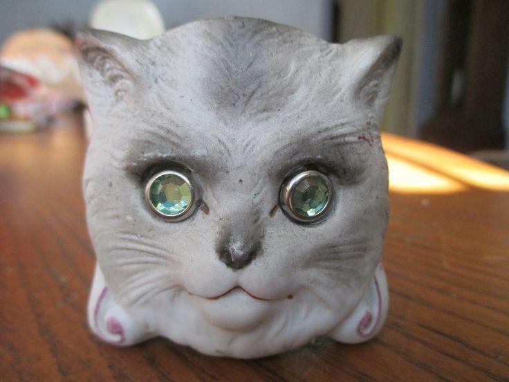 Antique miniature cat nursery fairy lamp light