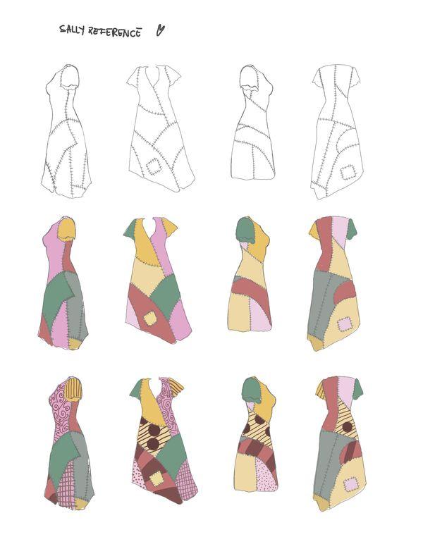 Sally's dress reference from Nightmare Before Christmas No encontré imágenes referenciales del vestido, así que las saqué yo. Espero les sirva a la hora de dibujarla o real...
