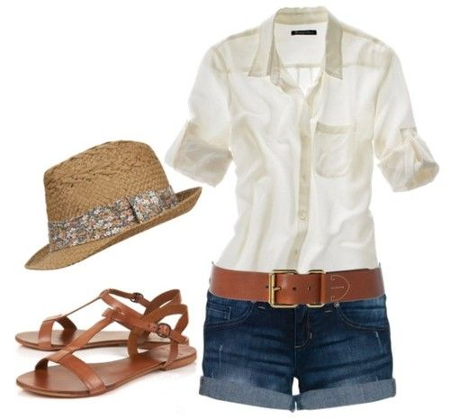 summer clothes: Summer Fashion, Summer Looks, Casual Summer, Summer Style, White Shirts, Cute Summer Outfits, Vacations Outfits, Jeans Shorts, Summer Clothing