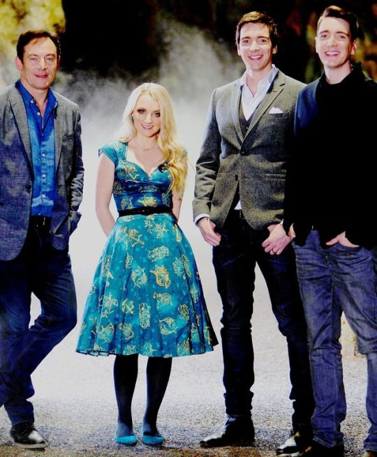 Evanna Lynch, Jason Isaacs, and James and Oliver Phelps attend the First look at The Forbidden Forest at the Warner Bros. Studio Tour London - The Making of Harry Potter in Watford, 8 March 2017