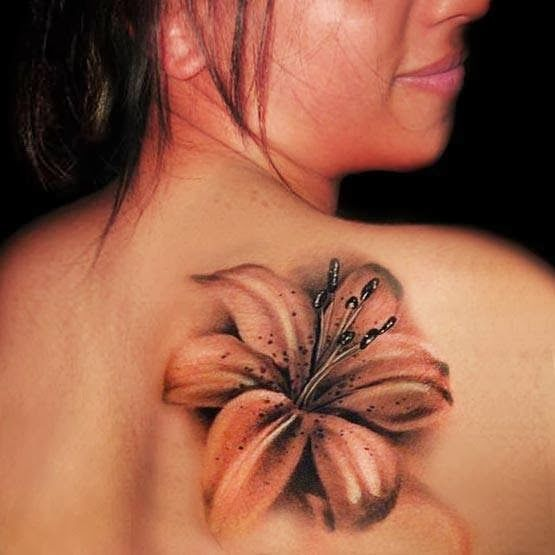 3D realistic flower tattoo on back....with more just like it going over shoulder and arm! Love this on my foot!
