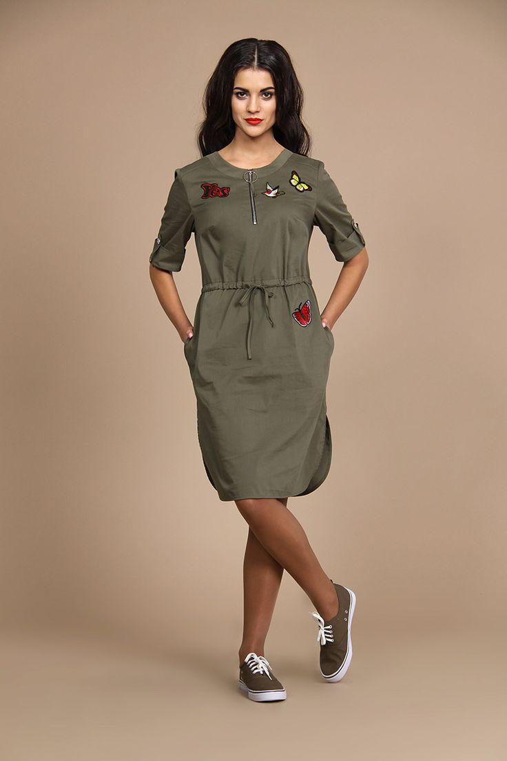 Платье ALANI 516 хаки купить с доставкой по России | Интернет-магазин BelaRosso-shop.ru
