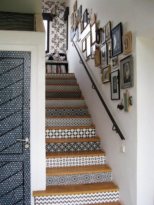 How to Get the Look of Patterned Cement and Encaustic Tile for Less. These stairs are stenciled- and that Door!