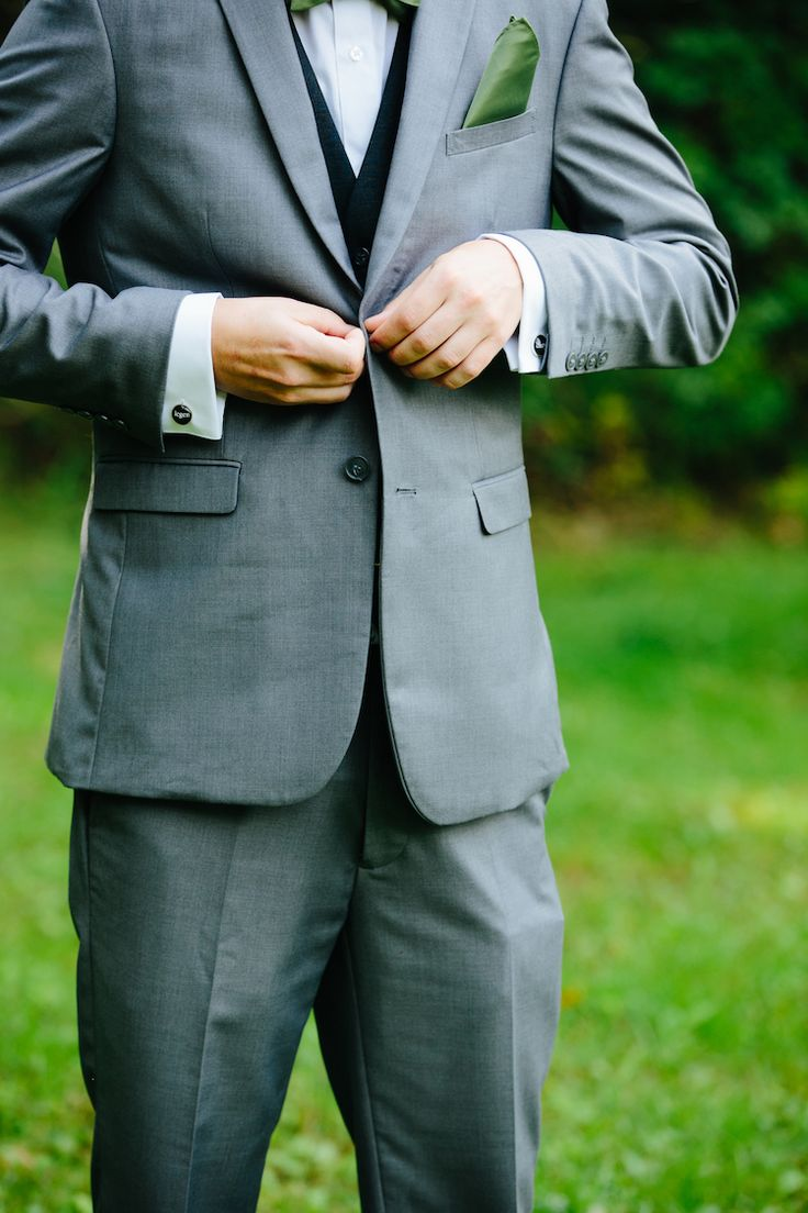Groom Grey Suit Black Vest Green Pocket Square Art Nouveau Autumn Burgundy Wedding http://www.jbonadiophoto.com/