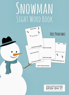 Snowman Themed Sight Word Book from The Educators' Spin On it. A fun winter themed book for your beginning reader!  #snowman #sightword #raiseareader #easyreader #eduspin