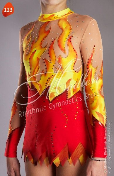 The rhythmic gymnastics leotard is made of stretch lycra, transparent mesh, decorated by paillettes (spangles).  At the front and at the back of the
