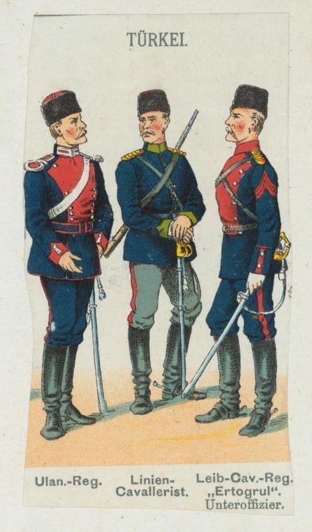 Turkish; Cavalry, Lancer Regiment, Line Cavalry & NCO of Leib Regiment Ertogul c.1900
