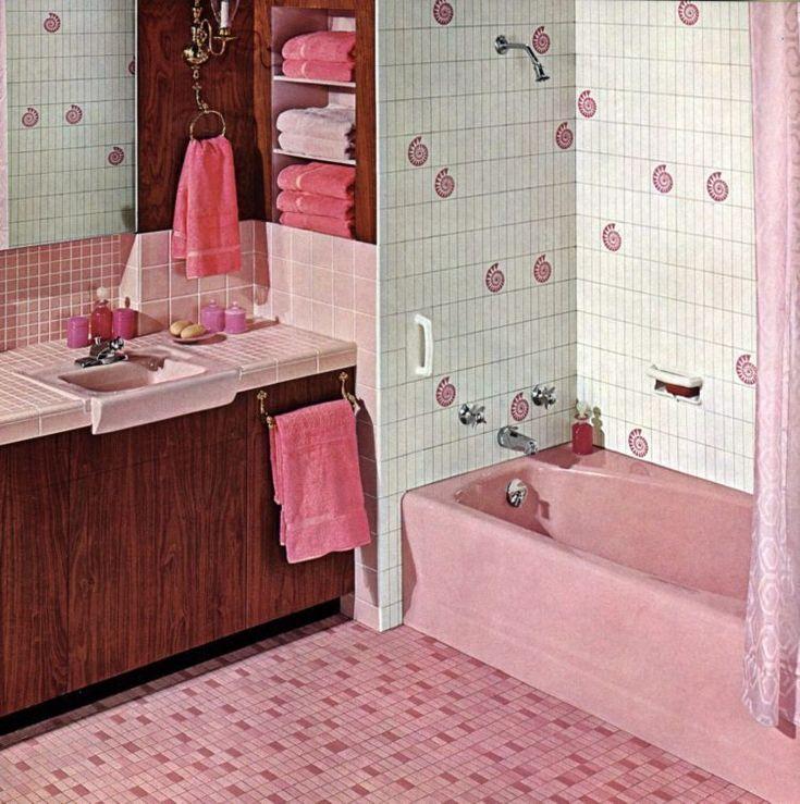20 Vintage-Badezimmer in Rosa: Sehen Sie einige wilde Wohnkulturen aus der Mitte des Jahrhunderts der 1950er und 1960er Jahre aus der Bubblegum-Ära