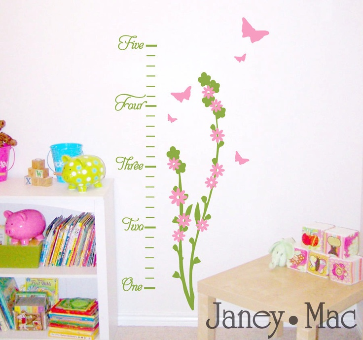 Flower Wall Decal Growth Chart Nursery T Growth Charts