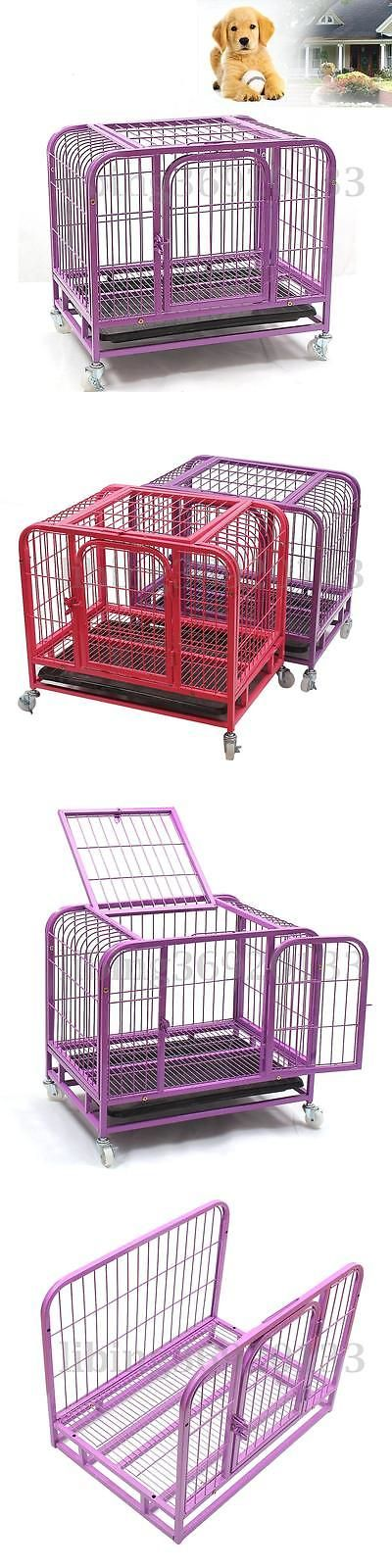 Cages and Crates 121851: 31 Heavy-Duty Pet Dog Puppy Cage Folding Strong Steel Crate Carrier Wheels BUY IT NOW ONLY: $63.99