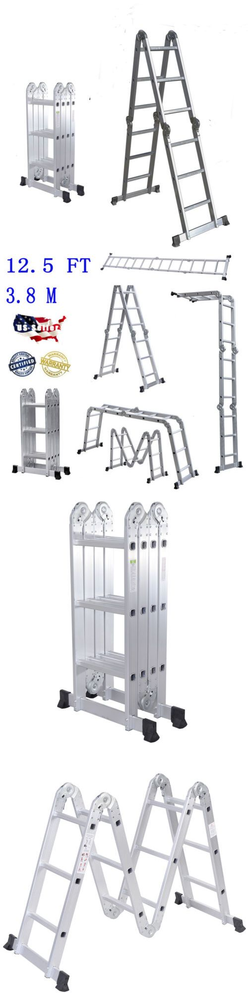 Ladders 112567: Multi-Purpose Aluminum Ladder Folding Step Ladder Scaffold Extendable Heavy Duty -> BUY IT NOW ONLY: $59.99 on eBay!
