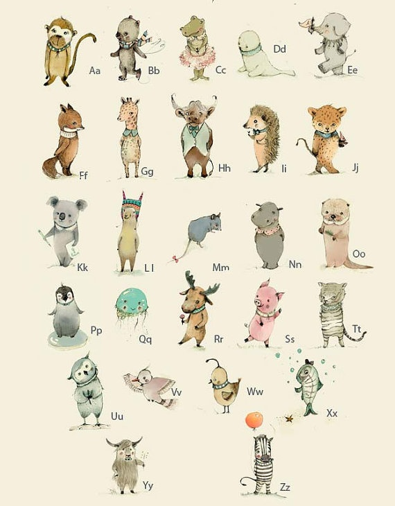 Adorable German Alphabet Poster by Paola: Nurseries Decor, Wall Art, Animal Alphabet, Illustration, Art Prints, Animal Prints, Alphabet Posters, Paola Zakimi, Kids Rooms