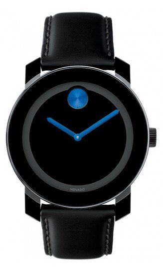 Movado Watch, Swiss Bold Medium Black Leather Strap 36mm 3600065 - Movado