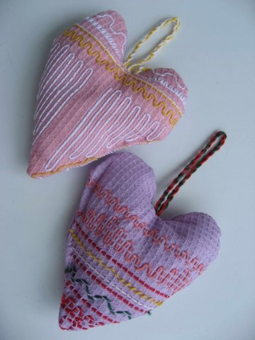 hearts from waffle weave cloth