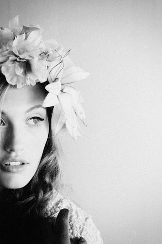 flower, women, black and white, photography