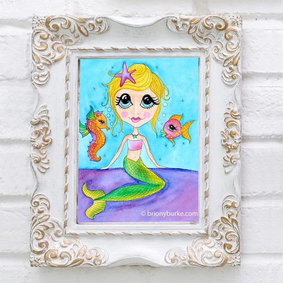 Mermaid Watercolour Painting Illustration Print  by BrionyBurke