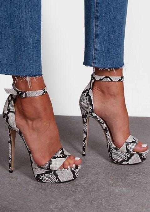 e6a8331a558c Snakeskin Printed Ankle Strap Heeled Sandals   Shoes   Women's shoes ...
