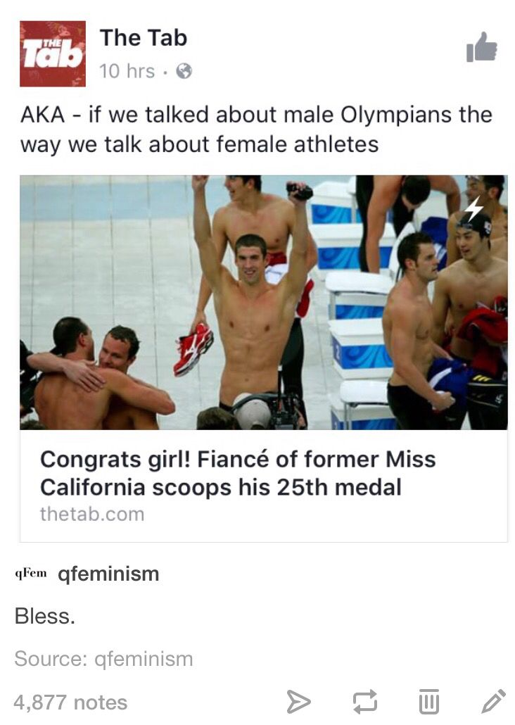 Literally people were congratulating the HUSBANDS of female Olympic athletes for HER WORK, HER MEDAL, HER ACHIEVEMENT.