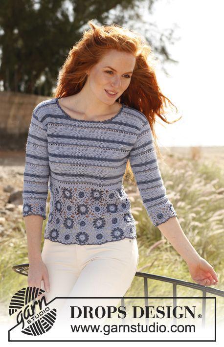 """Gehaakte DROPS trui van """"Safran"""" en """"Cotton Viscose"""". Met vierkantjes en strepen. Maat: S - XXXL. ~ DROPS Design"""