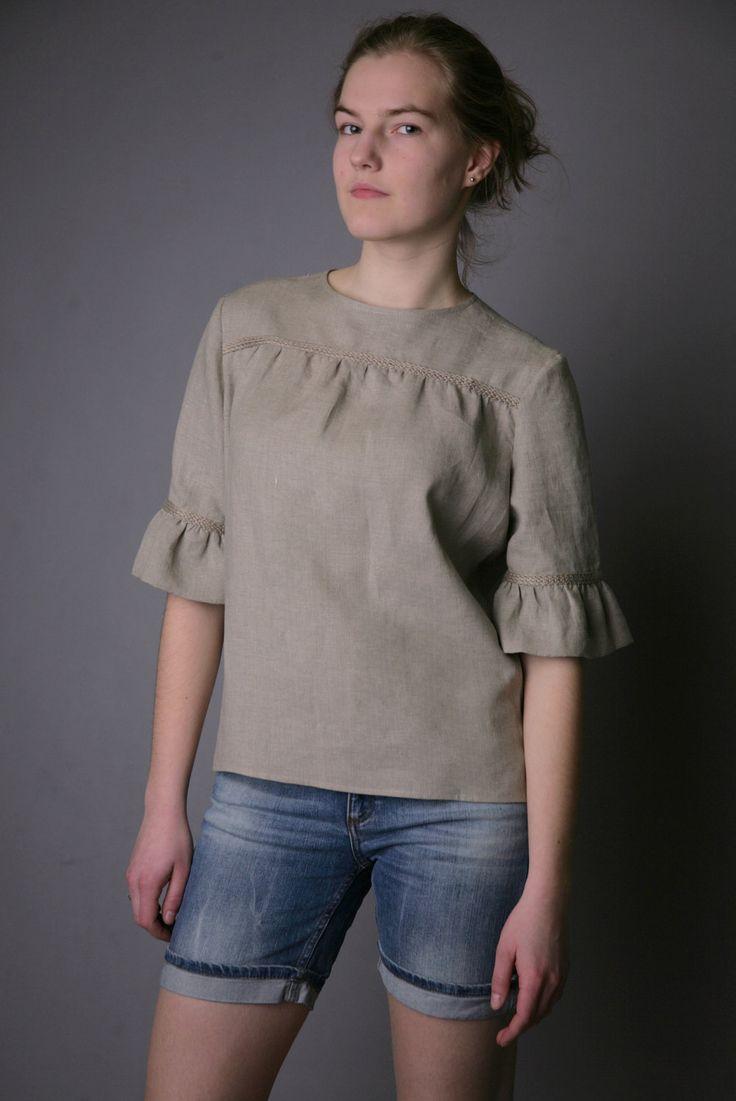 Pure Linen Natural Blouse for Woman. $39.00, via Etsy.
