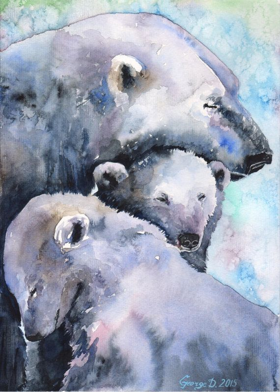 Hey, I found this really awesome Etsy listing at https://www.etsy.com/uk/listing/244307332/polar-bears-watercolor-print-of-the