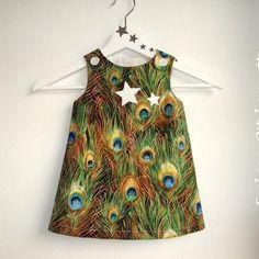 "Robe ""emma"" 6-36 mois,évolutive,vert,turquoise,robe trapèz, coton"