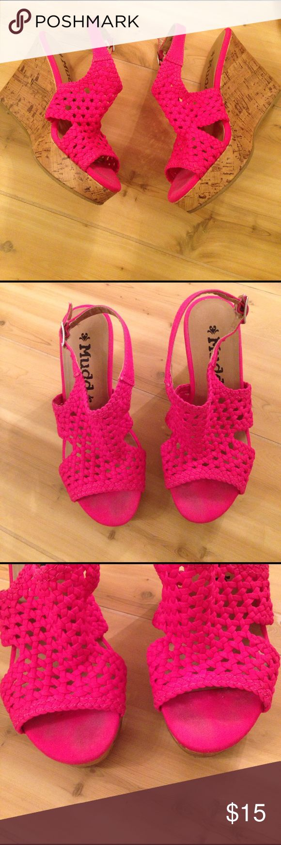 Mudd Carnival Wedge Heels Amazing Mudd carnival hot pink crochet wedges. These are used, but still have a lot of life left! Please see all pictures and ask questions if you have them. Size 6M Mudd Shoes Wedges