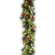 Cheap Christmas Garland With Lights | National Tree CW7-306-9A-1 Crestwood Spruce Garland with Silver Bristle, 9-Feet by 10-Inch