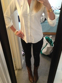 white polo, leggings and boots - perfect fall outfit