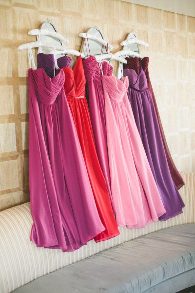 a palette of purple, pink and red dresses by B2... Valentine colors.