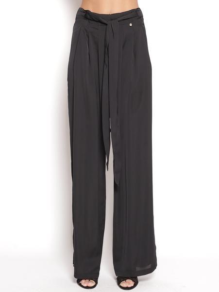Pantalone palazzo in raso Nero