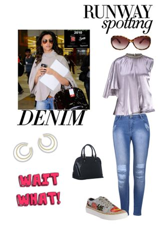 'mystyle' by me on Limeroad featuring Blue Jeans, Purple Tops, Black Handbags, Brown Sunglasses, Yellow Earrings with Grey Sneakers