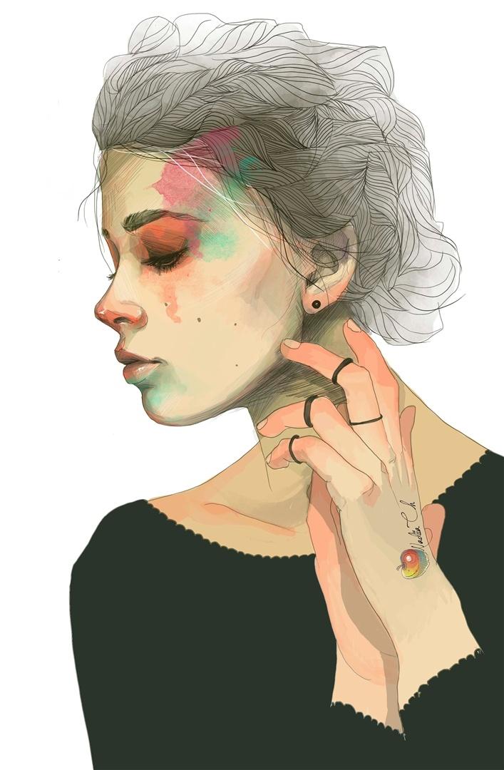 Nadiia Cherkasova #art #illustration #digital #portrait #girl #profile