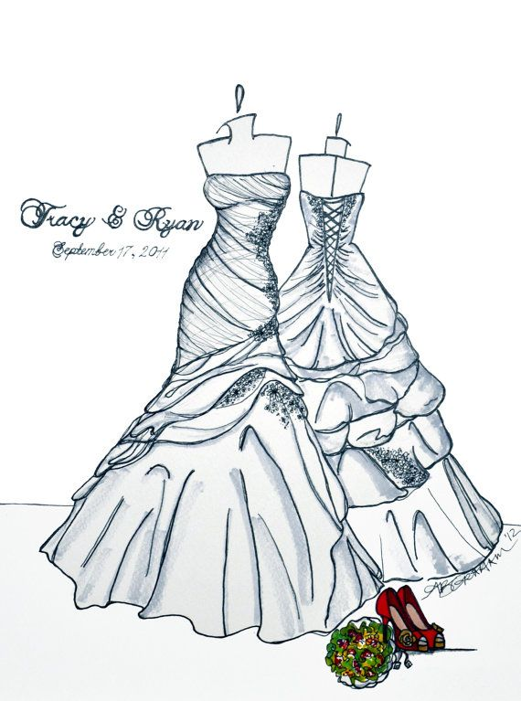 Sketch of dress--just beautiful, mermaid style without being too flared, imho