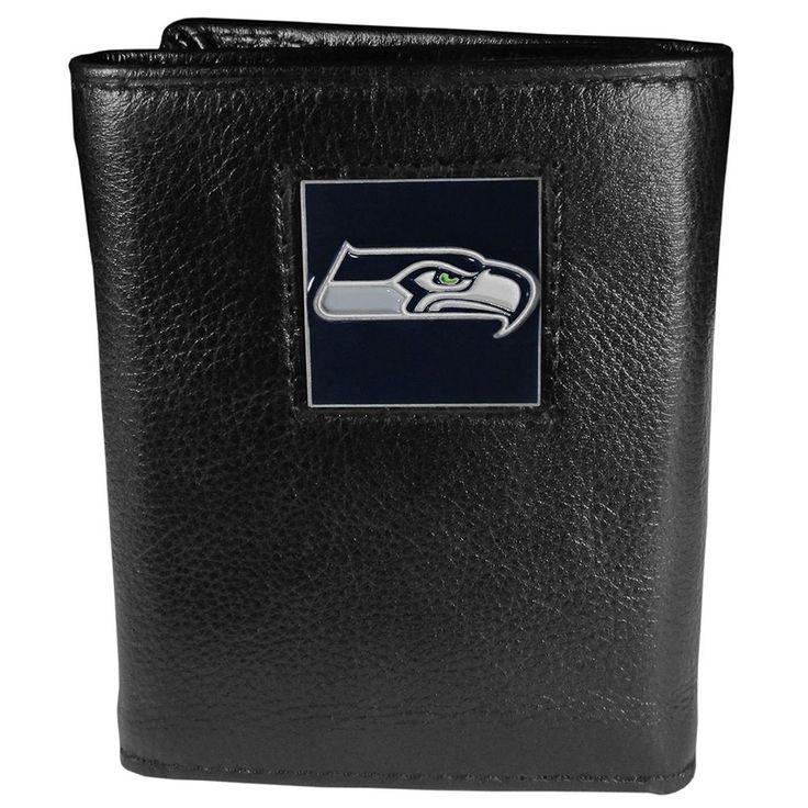 NFL Seattle Seahawks Fine Grain Leather Tri-Fold Wallet #SiskiyouSports #SeattleSeahawks